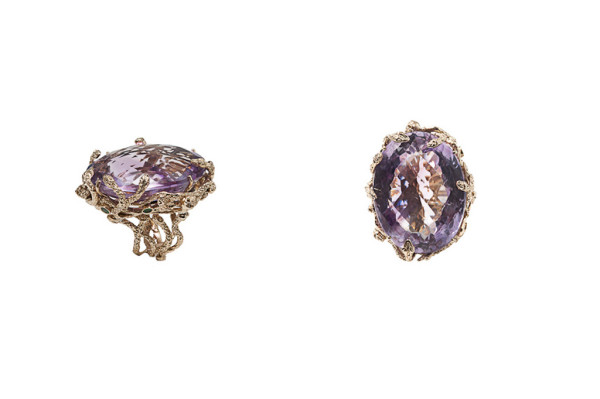 Medusa ring with light violet amethyst