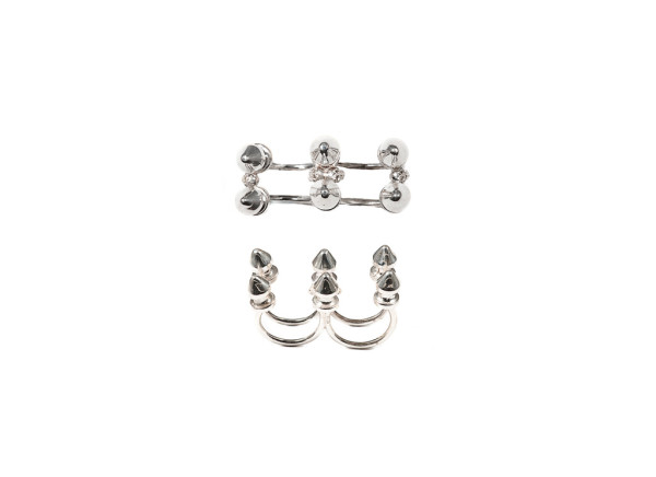 Six studs silver ring