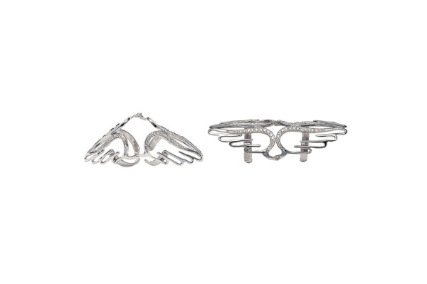 4 wings articulated rings with diamonds