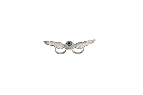 Silver 2 fingers wings ring with eye