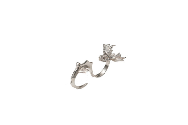 Silver 2 fingers dragon ring