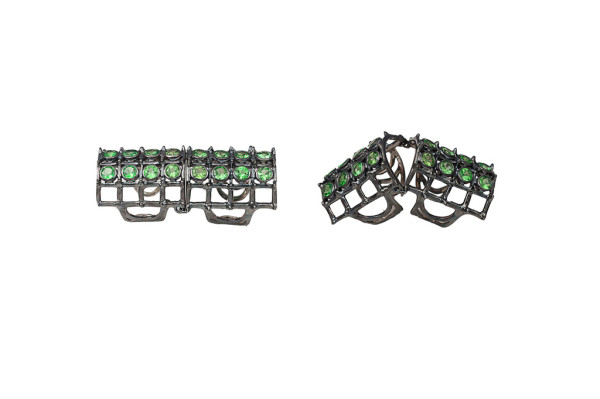 Articulated cage and studs ring with tsavorites