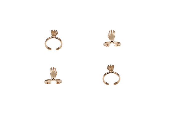 Bronze midi ring with hand - dx/small / Bronze midi ring with hand - sx/large