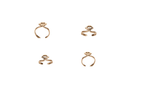 Gold midi ring with mouth - small / Gold midi ring with mouth - large
