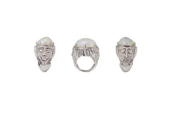 Greek masks pavé ring with opale and diamonds