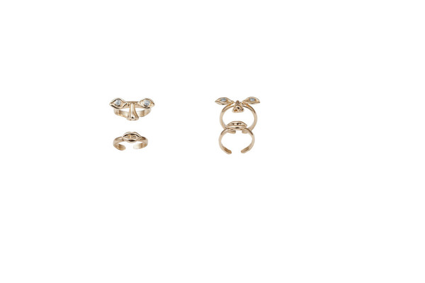 Face gold midi rings