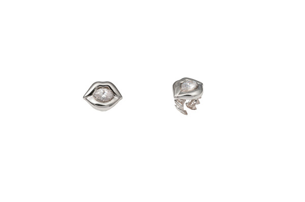 Silver lips ring with white cubic zirconia