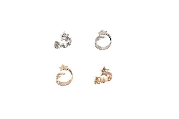 Bronze shooting star midi ring / Silver shooting star midi ring