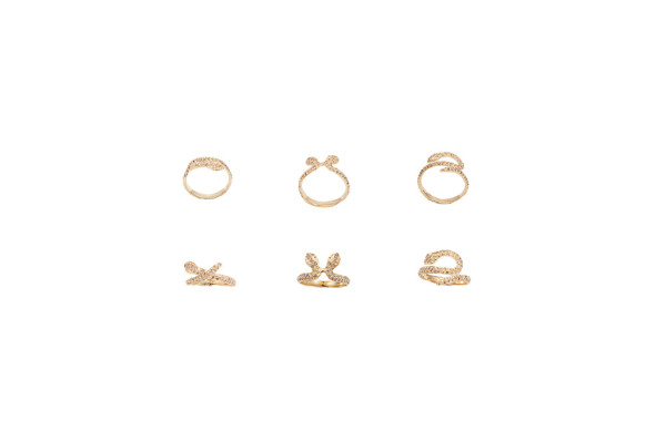 Gold snakes ring with cognac diamonds - style 1- style 2 - style 3