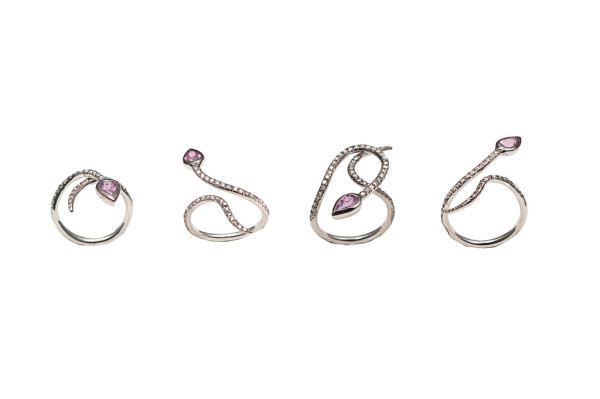 White gold snakes ring with grey diamonds and fucsia sapphire- style 1 /style 2 / style 3 / style 4