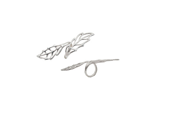 Silver long openwork leaf ring
