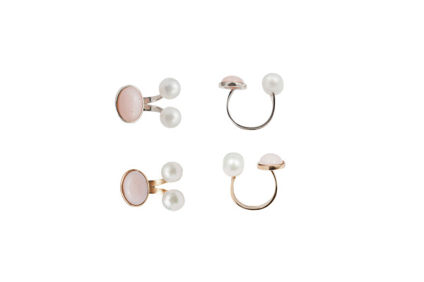 Bronze ring 2 pearls and 1 pink opal / Silver ring 2 pearls and 1 pink opal