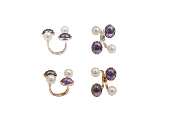 Bronze ring with 2 peals and 2 amethysts / Silver ring with 2 pearls and 2 amethysts