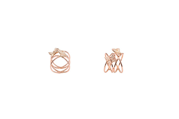 Criss cross pink gold ring with 2 pavé diamonds butterflies