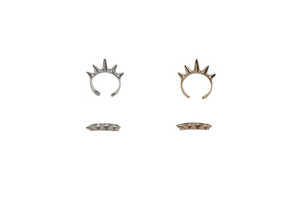 Single band bronze ring with spikes / Single band silver ring with spikes