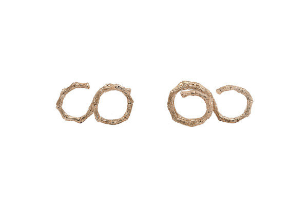 Bronze 2 fingers bamboo ring - 2 laps / Bronze 2 fingers bamboo ring -3 laps