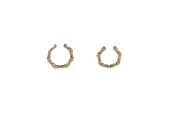 Set of 2 bronze bamboo open rings