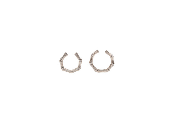 Set of 2 silver bamboo open rings
