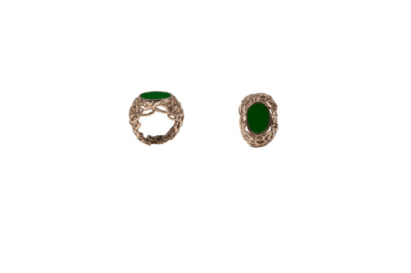 Bronze dome mouths ring with green enamel