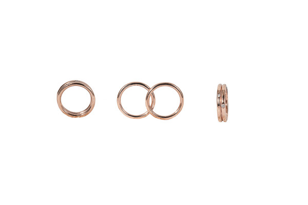 Pink gold double secret ring with diamonds