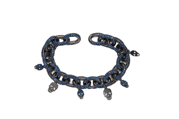 Blue sapphires pavé chain mesh bracelets with with skulls