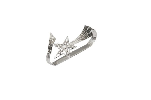 Shooting star hand cuff bracelet with diamonds