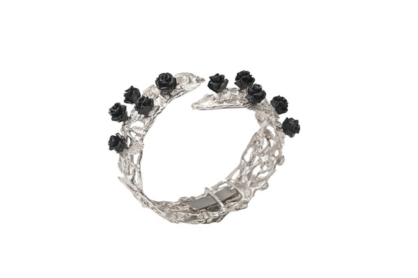 Silver leafy cuff bracelet with black resin roses