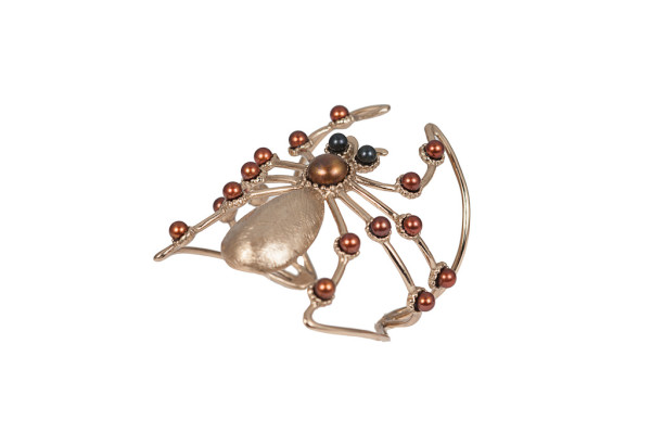 Giant spider bronze cuff bracelet with chocolate and black pearls