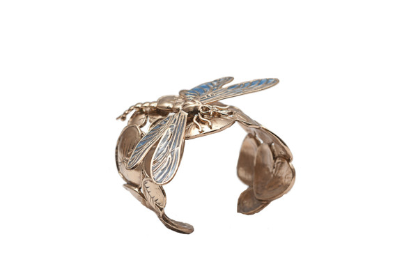 Giant dragonfly bronze cuff bracelet with enamel