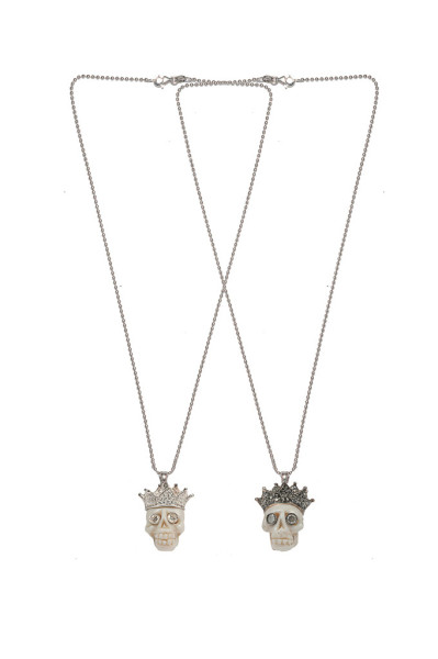 Gold necklace with coral skull, pavè crown , diamonds eyes