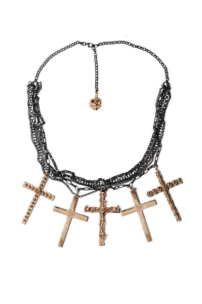 Black silver chains necklace with bronze crosses