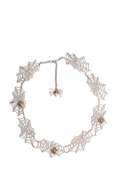8 webs silver necklace with 3 bronze spiders