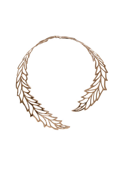 Brass open work big leaf necklace