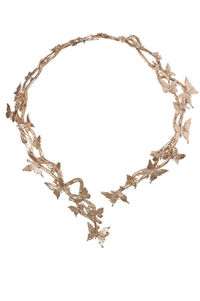 Brass multi butterflies stiff necklace