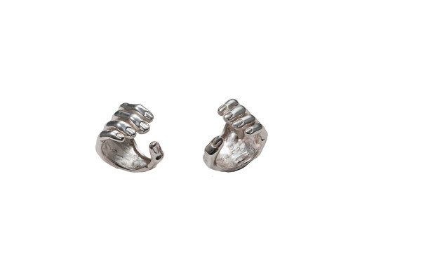 Open silver hand ring - man