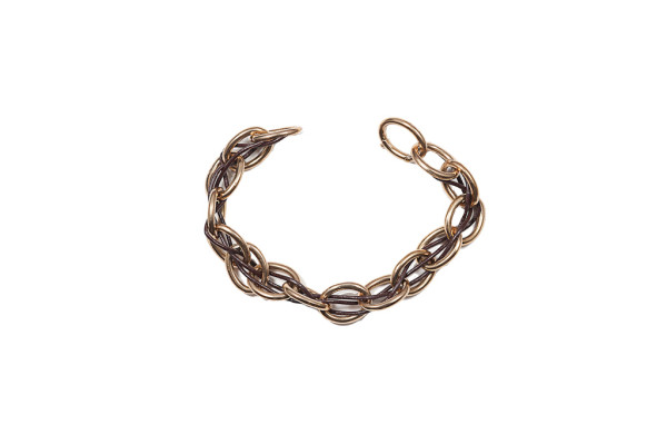 Bronze chain mesh with leather bracelet - man