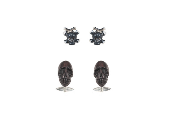 Silver cufflinks with bone skull / Silver cufflinks with wooden skull