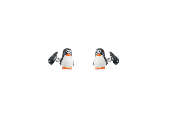 Silver enamelled penguins cufflinks