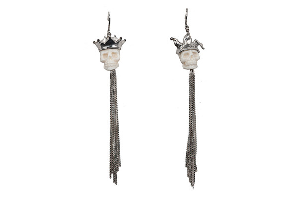 Corall gold and silver jolly and crown earrings with chains
