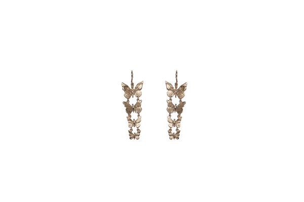 Bronze earrings with 4 butterflies
