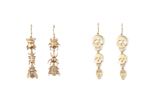Insects earrings / 3 plates skulls bronze earrings
