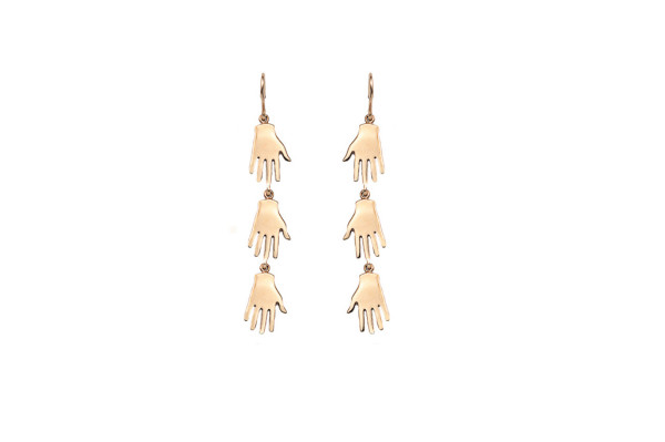 3 hands bronze earrings