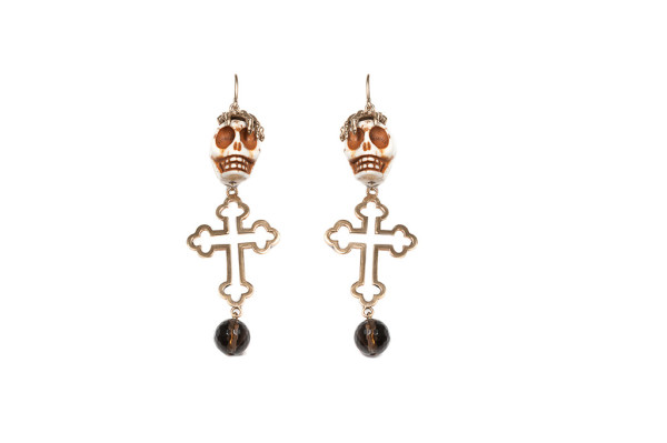Magnesite skull earrings with big cross