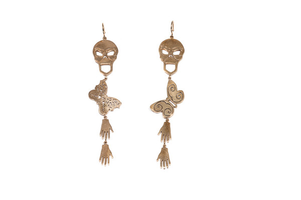 Skull earrings with butterflies and hands