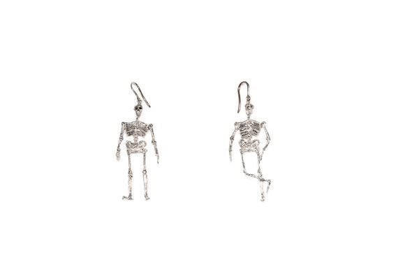 Big silver skeleton earrings