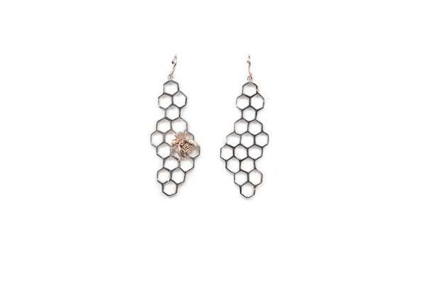 Silver honey comb with bronze bee earrings
