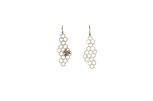 Gold honey comb and bee earrings