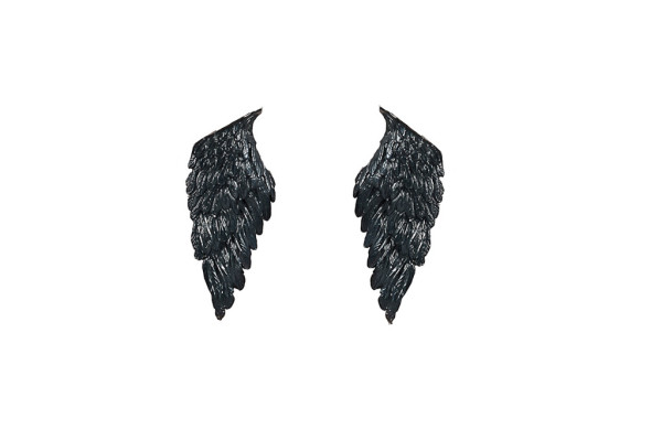 Black silver wings earrings