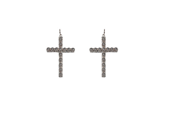 Silver cross earrings with skulls
