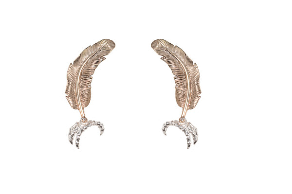 little bronze feather with silver claw earrings